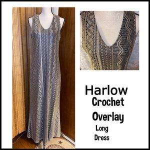 Harlow Crochet Overlay long Dress SZ 14